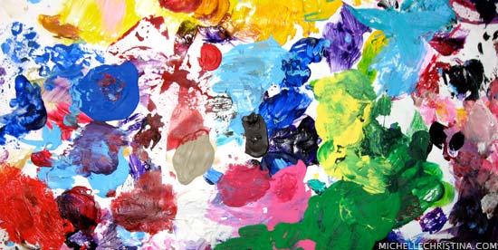 Vibrant Acrylic Paint Artist Palette