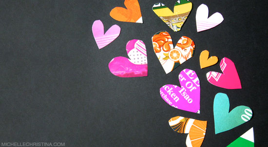 junk mail paper hearts art collage by michelle christina
