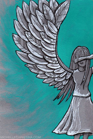 wing it mixed media illustration by michelle christina