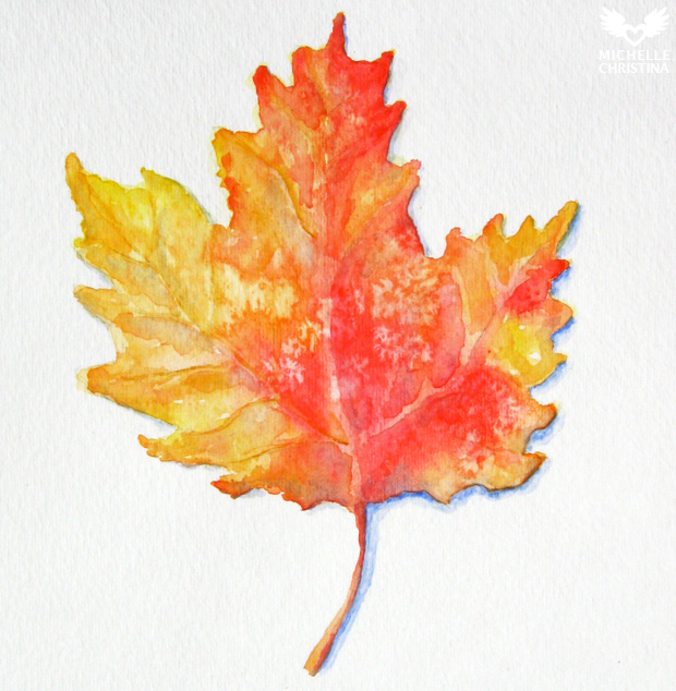 New England Fall Leaf Watercolor painting
