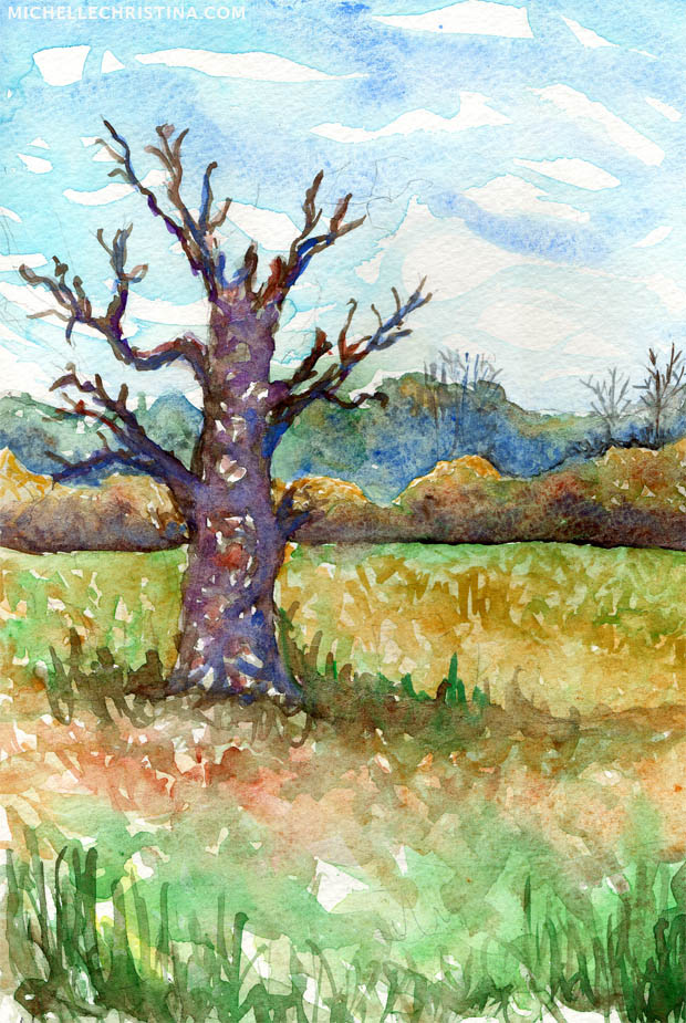 field at adams point durham nh watercolor painting
