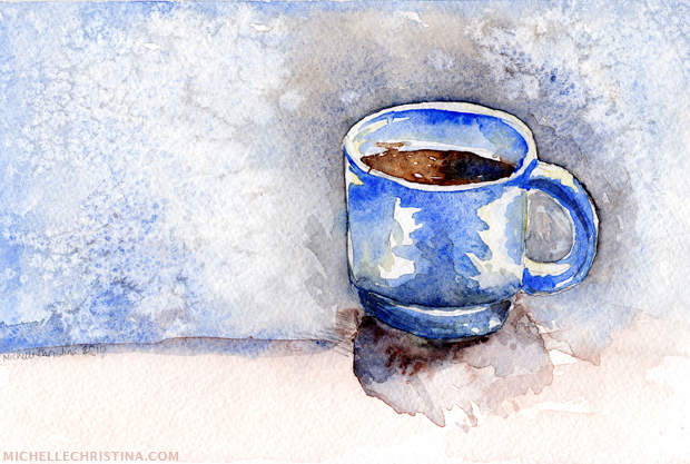 morning coffee watercolor painting