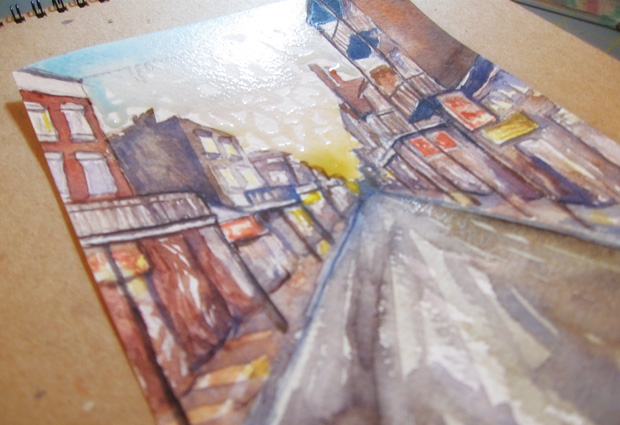 watercolor painting close up