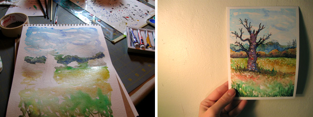 watercolor painting process photos