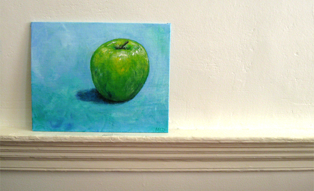 apple acrylic painting by NH artist michelle christina