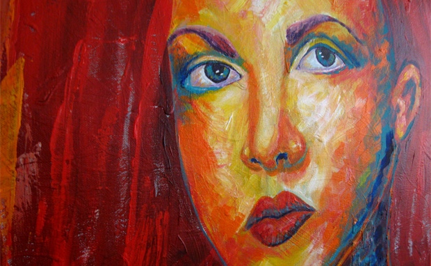warm girl portrait acrylic painting by NH artist michelle christina