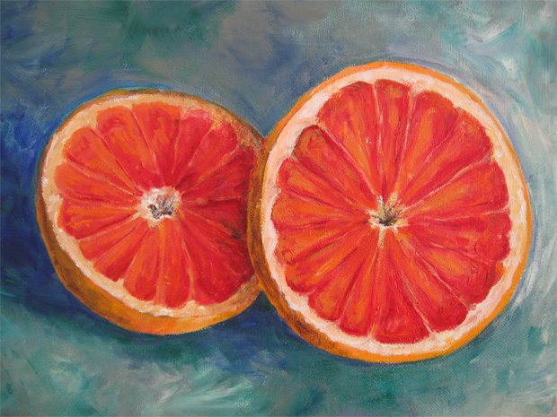 oranges still life acrylic painting by NH artist michelle christina