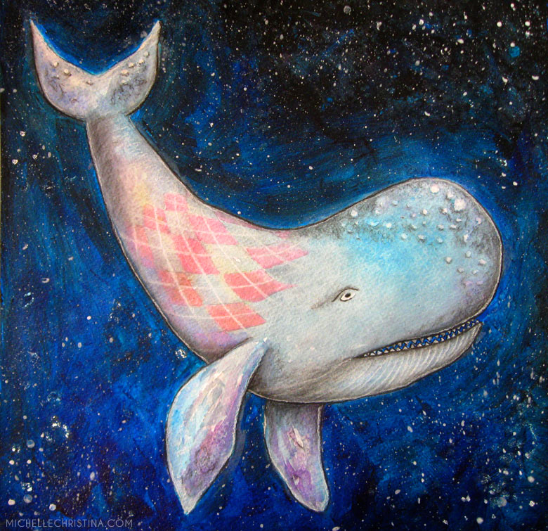argyle space whale watercolor painting by artist michelle christina
