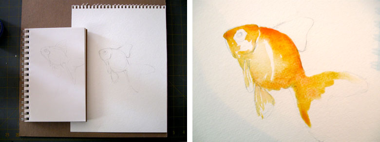 goldfish watercolor painting technique by michelle christina