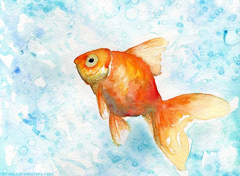 goldfish watercolor painting by NH artist michelle christina