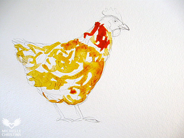 hen watercolor painting by how to paint step 2
