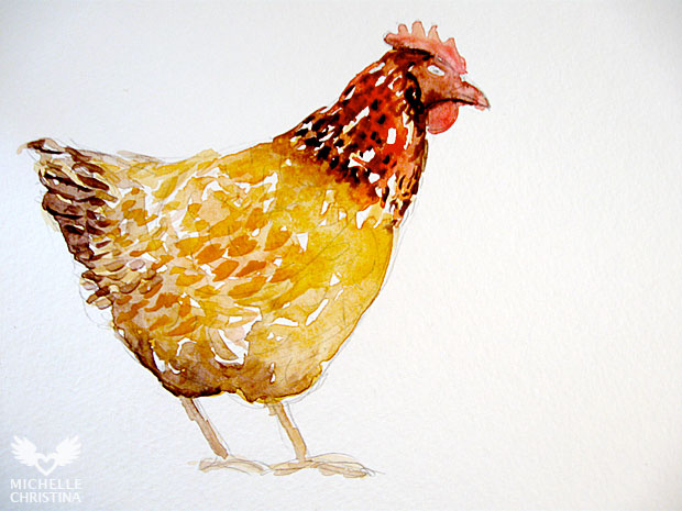 chicken watercolor painting by how to paint step 3